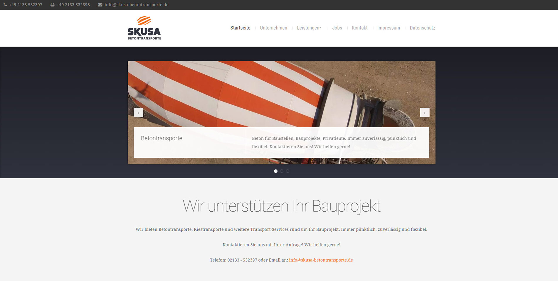 Website Skusa Betontransporte